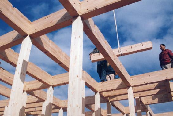 ※写真:上棟の時の様子。ご近所に仮住まいされていたので、建築中もよく現場に足を運んでくださいました。