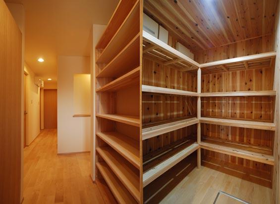 ※写真:(左)玄関のシュークローゼット(右)食品パントリー